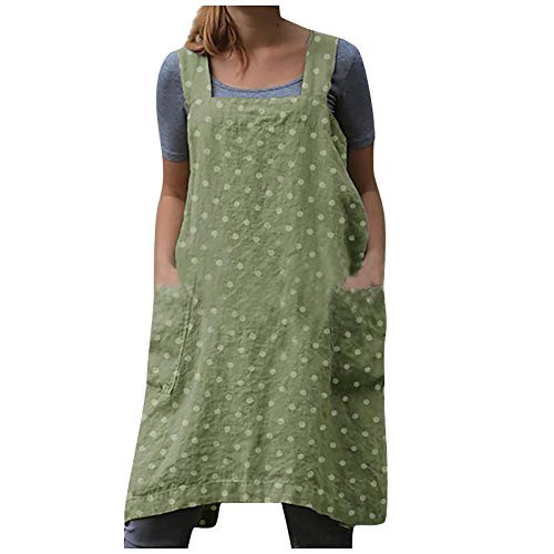 Treadyouth Dress for Women Cotton Linen Cross Apron Garden Work Green Dress Gray Dress Spring Casual Dress 2021