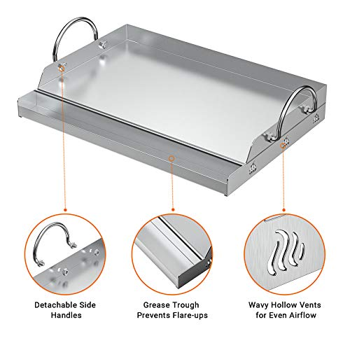 Onlyfire Universal Stainless Steel Griddle for BBQ Grills with Removable Handles Replaces