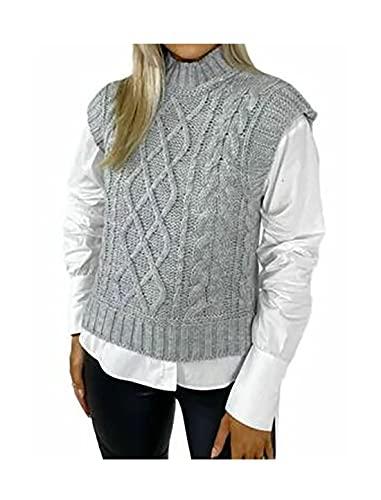 Las mujeres Cable de punto chaleco de señoras sin mangas suéter liso de cuello alto punto Tank Top