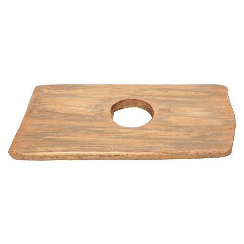 wohnfreuden Teakholz Waschtischplatte für Naturstein Waschbecken ✓ Holz-Platte für Waschbecken ✓ antikes Teakholz ausgetrocknet ✓ Unterbau Gr. M 70-90 cm