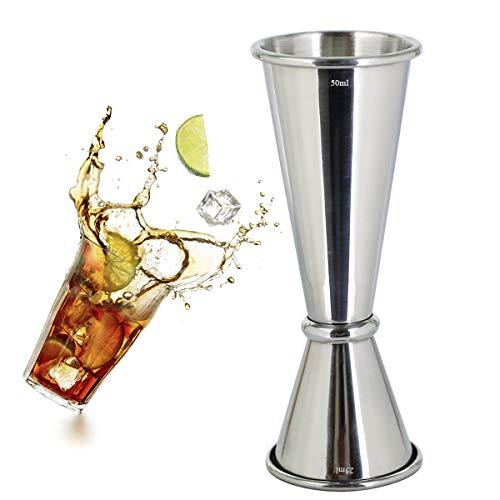 Jigger para cócteles, acero inoxidable 304, 25 ml, 50 ml, taza medidora para bar, hogar, bartender fiesta, vino bebida (plata)