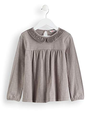 Amazon-Marke: RED WAGON Mädchen Langarmshirt Sequinned Collar Top, Grau (Grey), 104, Label:4 Years
