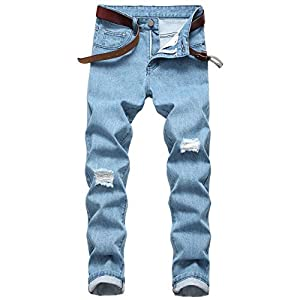 Men's Ripped Distressed Destroyed Slim Fit Straight Leg Denim Jeans