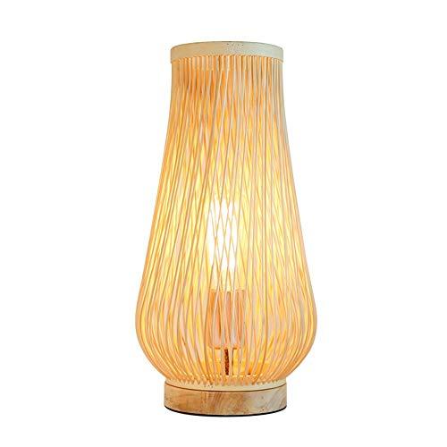 Lievevt Lámpara Escritorio Lámpara de la lámpara de Escritorio de bambú, iluminación Simple Creativa, lámpara de Estudio de Dormitorio (diámetro de 200 mm, Altura 390mm, Boca de Tornillo E27)