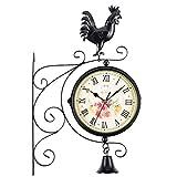 Honana 時計 壁掛け おしゃれ 飾り ファッションウォールクロック装飾の外でダブルサイドウォールクロックオスのひな鳥ベル屋外ガーデンウォール駅ブラケット時計(カラー:ブラック、サイズ:A) 学校 お店 カフェ 掛け置き時計