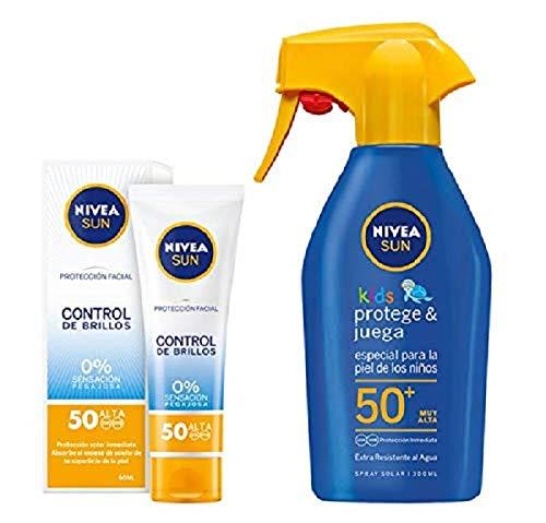 Nivea Sun Kids - Spray Solar Niños Hidratante FP50+ - Protección UV muy alta - 300 ml + Nivea Sun - Crema Solar Facial Control de Brillos FP50 - Protección UV alta - 50 ml