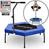 Kinetic Sports Fitness Trampolin Indoor Ø 110 cm, Hexagon, höhenverstellbarer Haltegriff,...