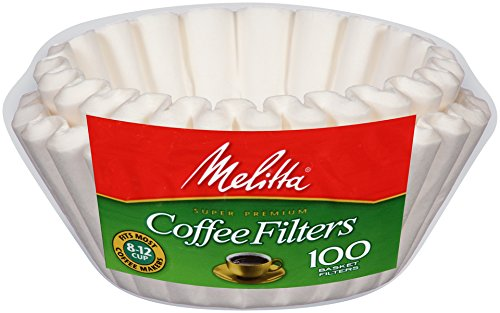 Melitta 8-12 Cup Basket Coffee Filters, White, 100 Count