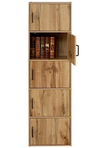 [山善] カラーボックス (扉付き) 5段 幅42×奥行29×高さ146cm 本棚 収納棚 洗面所棚 食器棚 組立品 オーク TCB-5(OAK3D)