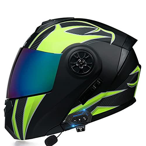 KKAAMYND Casco Moto Modular Bluetooth Incorporado Casco Motocross Integral ECE Aprobado Casco Scooter con Doble Visera Anti Vaho para Hombre Y Mujer Casco De Motocicleta para Adultos