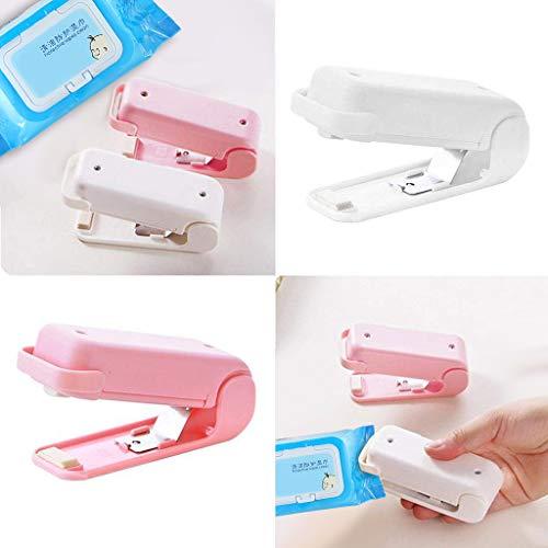 JHFUH New 2Pcs Portable Beauty Tool Sealing Handheld Machine Mini Heat Sealer Binding Machine Prevent Food Moldy Keeping Food Fresh (White)