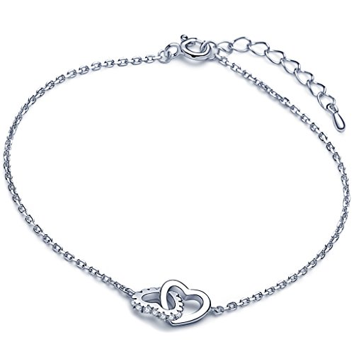 """Yumilok Doppel Ineinander Verschlungene Herzen 925 Sterling Silber Zirkonia Damen Charm-Armband Armkette Gliederarmband, 6.3-7.5\"""" Verstellbar"""