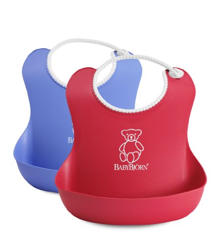 BABYBJORN Soft Bib, Red/Blue, 2 Pack