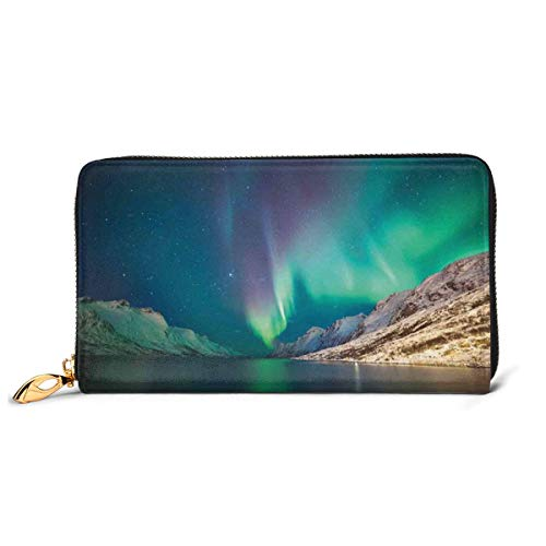 Women's Long Leather Card Holder Purse Zipper Buckle Elegant Clutch Wallet, Mystical Aurora Borealis Above The Rocky Hills Magnetic Poles Solar Space Panorama,Sleek and Slim Travel Purse