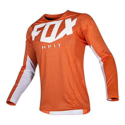 MTB Fox Camisetas de Bicicleta de montaña, Jerseys de Bicicleta Motocross BMX Camiseta de Carreras Descenso MX Verano Hpit Fox Camiseta de MTB Locomotora Bicicleta/Motocross/MTB Jersey Hombre, M