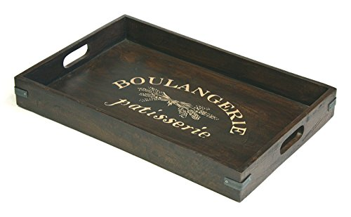 """Extra Large Boulangerie Antique Style Artisan Solid Mahagany Wood Serving Tray w/Metal Accents 
