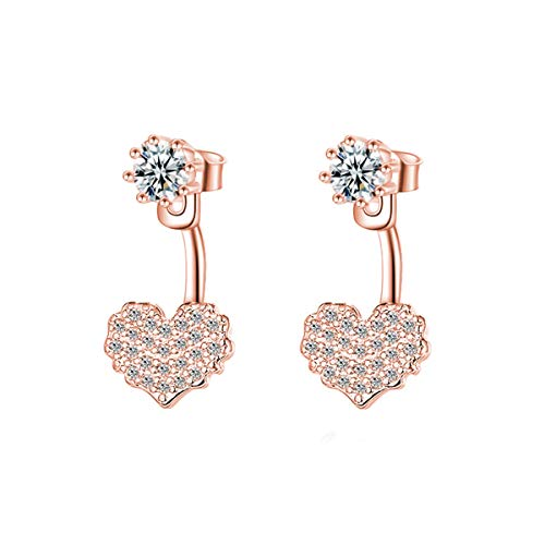 Beiswe 925 Sterling Silver Crystal Love Heart Drop Studs Earrings for Women Girls Fashionable Statement Earrings Jewelry (Rose Gold)