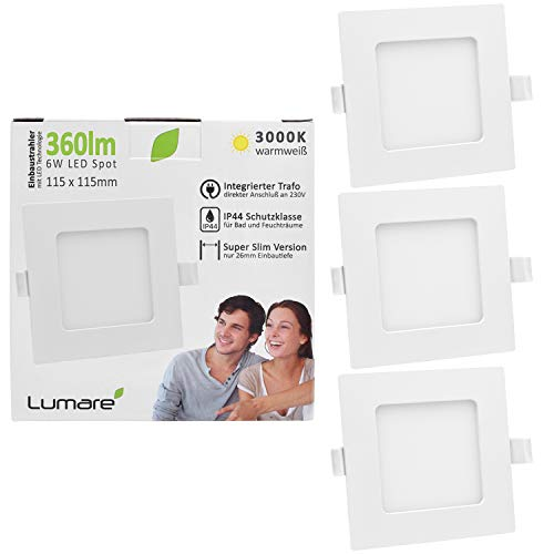3x Lumare 6 Vatios Slimline Foco empotrable IP44 para baño y salas húmedas en color blanco con solo 26 mm de profundidad de montaje