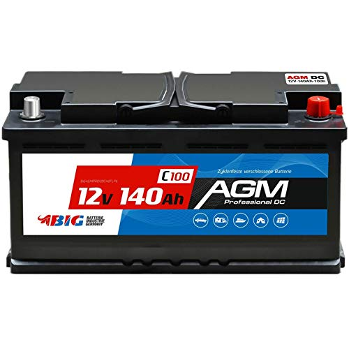 BIG Versorgungsbatterie AGM 12V 140Ah Solar-Batterie für Wohnmobil statt 130Ah 120Ah