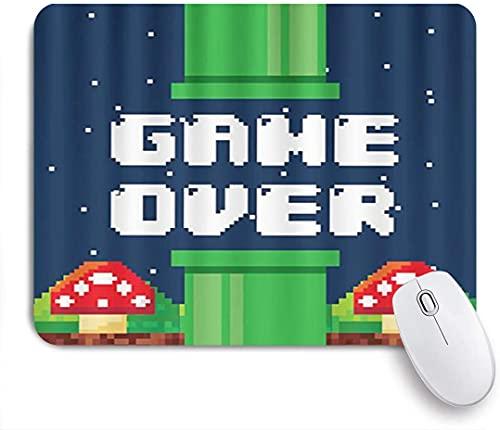 HARXISE Alfombrilla Gaming,Pixel Game Vintage Fun Videojuego Terminado con Hongo,Nube Blanca,Seta roja,con Base de Goma Antideslizante,240×200×3mm