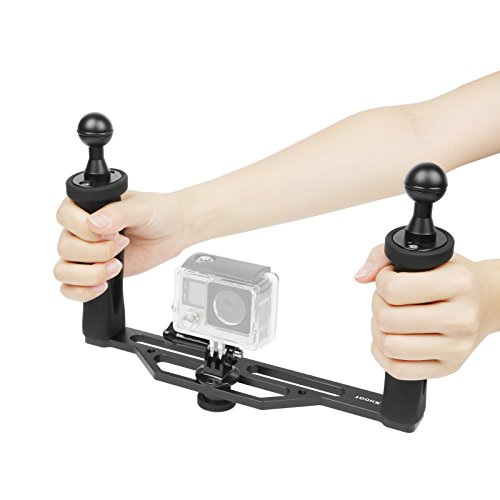 SHOOT Aluminium Dual Handheld Stabilisator Camera Unterwasser Handgriff für GoPro Hero 8/7/6/5/4/3+/3 SJCAM APEMAN AKASO Actionkameras
