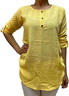 Veronica Long Sleeve Ladies Blouse round neck yellow 3 buttons