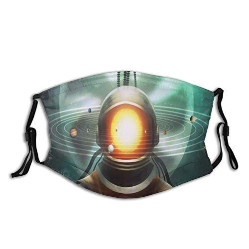 FULIYA Waschbare, wiederverwendbare Mundbedeckung mit modischem Muster, bedruckt, atmungsaktiv, mit zwei Filtern, Kosmonaut, Weltraum, Kunst, Sonnensystem, Sanduhr, Surrealismus