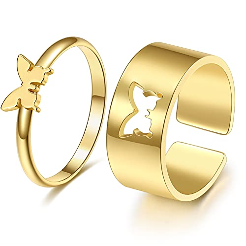Butterfly Ring for Couples,Matching Butterfly Rings for women Teen Girls Men Adjustable Gold Plated Split Metal Promise Wedding Set Friendship Jewelry 2pcs (gold, copper)