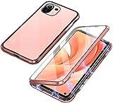 Funda Compatible con Xiaomi Mi 11 Lite, Carcasa Absorción Magnética con Armario Diseño, Aluminio Bumper Transparente Vidrio Templado Case Anti-Arañazos 360 Grados Cover,Oro