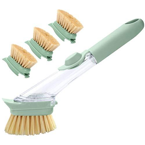 RTG Reinigungsbürste mit langem Griff , Schwerer Spülsteinschwamm for Küchenspüle Reinigungsbürste mit 3 Ersatzköpfen zum Nachfüllen , Seifenspender-Spülbürste for Küchenspüle