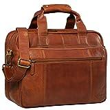 STILORD 'Experience' Vintage Lehrertasche Leder groß für Herren Damen XL Aktentasche Business Schulter- oder Umhängetasche für Laptop Trolley aufsteckbar, Farbe:Cognac - braun