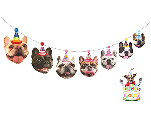 Gyzone Dogs Birthday Garland, Funny French Bulldog Face Portrait Birthday Banner, Bday Bunting Decorations