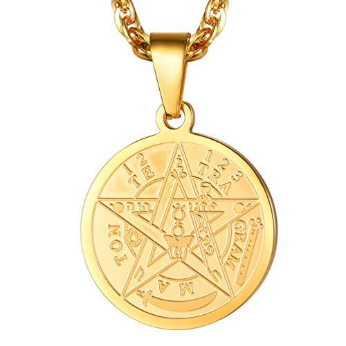 PROSTEEL Herren Halskette 18k vergoldet Solomon Pentagramm Anhänger Männer Jungen Jüdisch Modeschmuck mit 55 + 5cm Singapurkette (Gold)