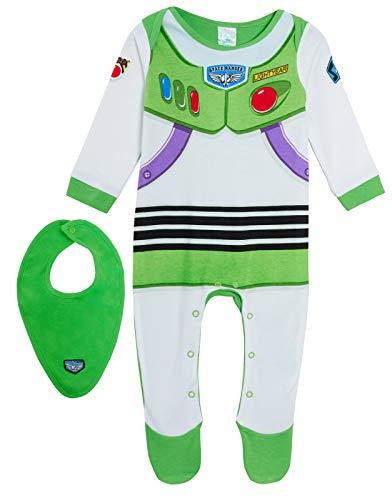 Disney Baby Boys Toy Story 4 Buzz Lightyear Babygrow + pañuelo babero set de regalo verde/blanco 9 mes