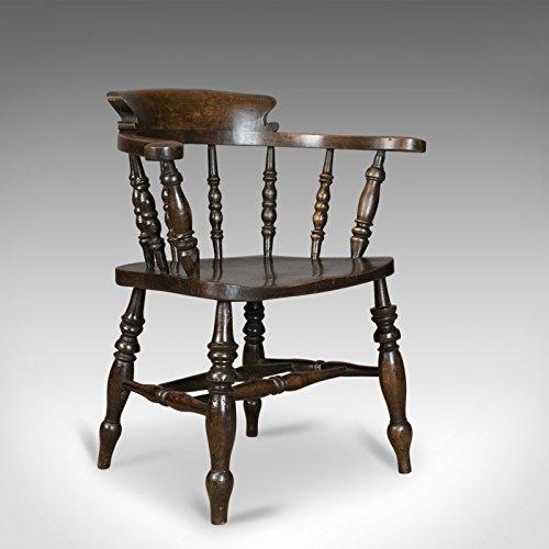 Sillón antiguo, inglés, victoriano, albahaca, capitán fumadores silla C1900