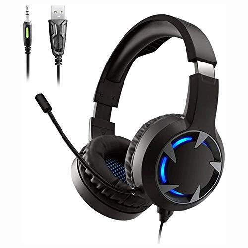 Grote haai Gaming Headset voor PS4 met in-Line Audio Control, Afneembare Ruisonderdrukking Microfoon, Comfortabel Geheugen Schuim met LED Licht Compatibel met PS4, Schakelaar, PC, PS3, Mac