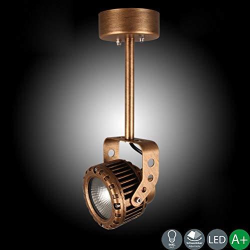 COB & ndash; Retro LED-plafondlamp in industrieel design, bedlampje van brons, lampenkap Φ10 cm, wandlamp 8 cm, sokkel Φ9 cm, 1 gele lampen