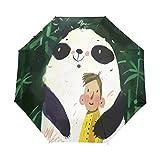 Verde Dibujos Animados Panda Gordo Paraguas Plegable Hombre Automático Abrir y Cerrar Antiviento Protección UV Ligero Compacto Paraguas para Viajes Playa Mujeres Niños Niñas