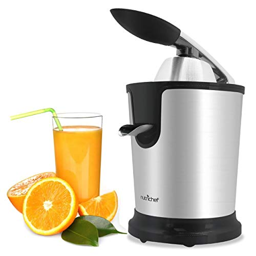 Stainless Steel Electric Juice Press-Citrus Juicer or Squeezer Masticating Machine w/ 160W Power, Handle & Cone for Orange, Lime, Pomegranate and Grapefruit and Lemon Fruit-NutriChef PKJCR305