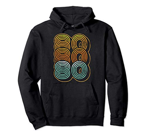 Adults 80s Triple 80s Graphic Hoodie, 5 Colors, Unisex S to 2XL