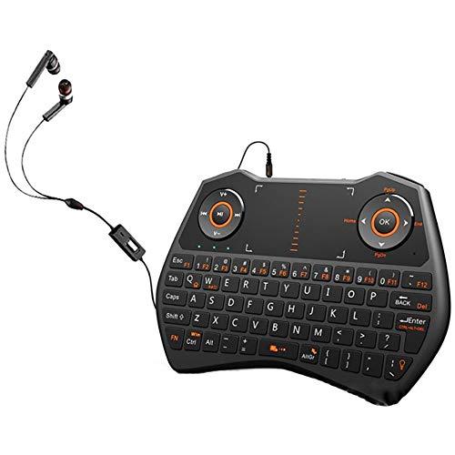 CCFCF Mini Teclado sin Hilos, i8X portátil de 2,4 GHz Teclado inalámbrico con touchpad Mouse, retroiluminada LED, Recargable Li-Ion,Negro