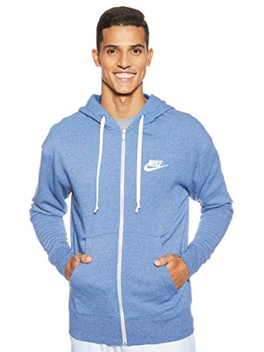 Nike Herren Sportswear Heritage Hoodie Full-Zip, Indigo Force/Heather/Sail, L