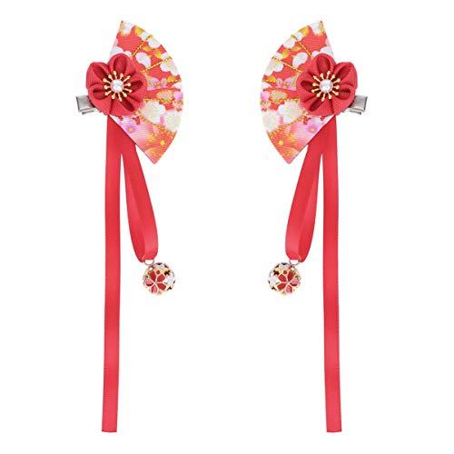 Amosfun 2pcs Japanese Hair Pin Kimono Flower Hair Clip Kanzashi Hair Ornament Tie Band Clip Headdress for Girl Woman Lady Chirstmas Gift (Red)