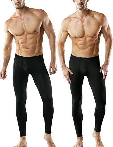 TSLA CLSL Men's 2 Pack Thermal Microfiber Fleece Lined Bottom Underwear Long Johns Stretchy with Fly, Thermal Fly-Front 2pack(mhb101) - Black, Large