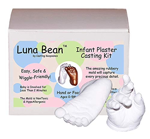 Luna Bean Baby Keepsake Hand Casting Kit - Plaster Hand Mold Casting Kit for Infant Hand & Foot Mold - Baby Casting Kit for First Birthday, Christmas & Newborn Gifts - (Clear Sealant - Matte)