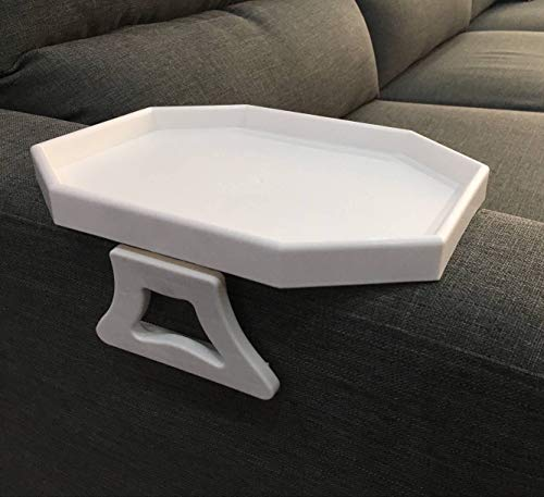 Sofa Arm Clip Table, Armrest Tray Table, Drinks/Remote Control/Snacks Holder (WHITE)