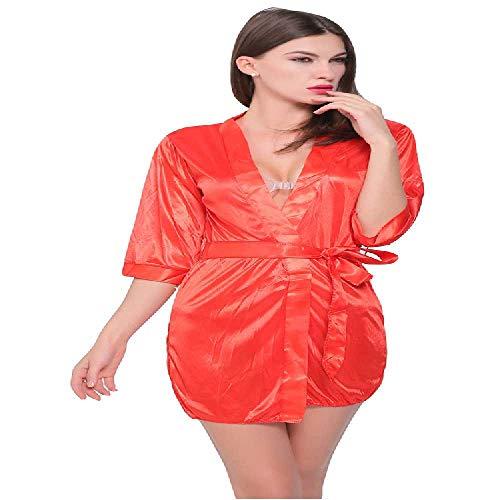 Bata de baño Europea y Americana, tamaño Grande, lencería Ebay Amazon Dunhuang Fuente, Rojo, Extra-Large
