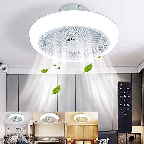 Ventiladores de techo con lámpara LED 72W Control remoto Atenuación 3 colores para Dormitorio Sala de Estar Comedor Cuarto de los niños Viento ajustable, Ventilador eléctrico oculto delier-White
