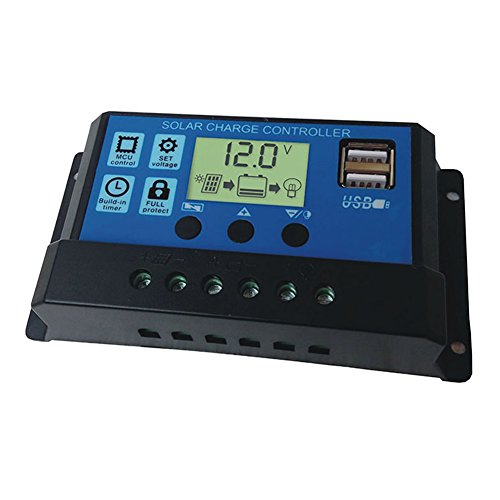 Controlador de carga solar de 10 amperios Controlador inteligente de panel solar Controlador solar de pantalla LCD, 12V 24V para alumbrado público LED o sistema solar para el hogar