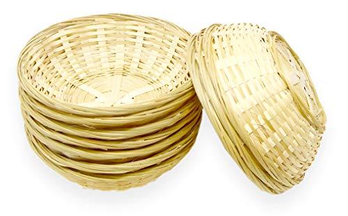 Lashuma 10er Körbchen Set Rund, Kleiner Geflochtener Korb, Leerer Aufbewahrungskorb zum Füllen, Osterkörbchen 20 cm